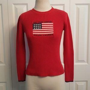 Vintage Ralph Lauren Red American Flag Sweater Med